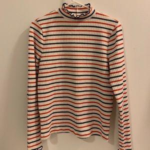 J Crew Ribbed Mockneck T Shirt In Stripes